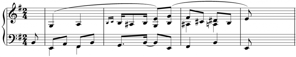 the first few bars of the piece