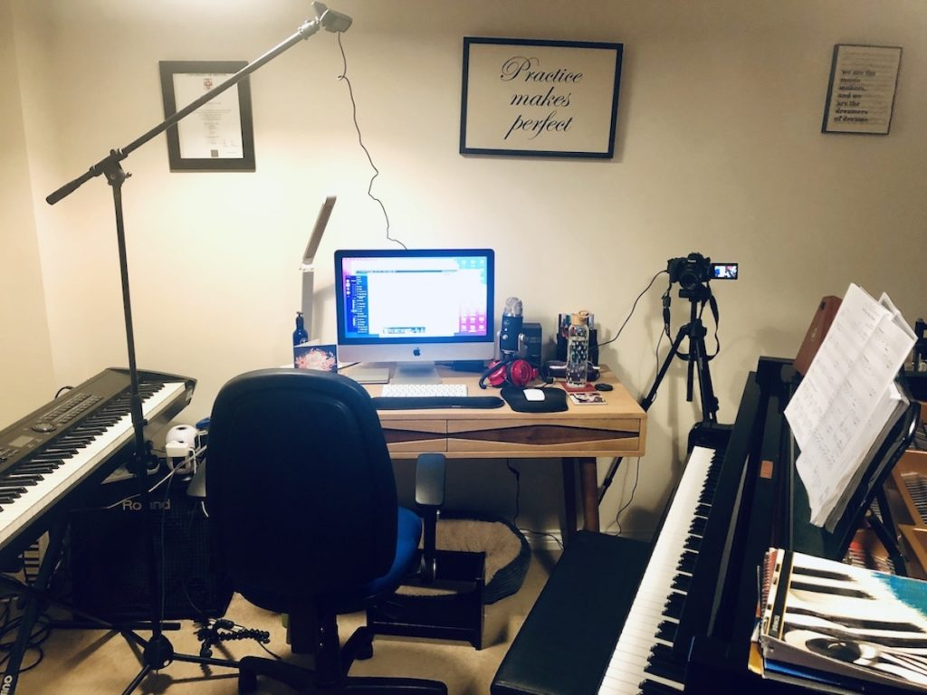 Community Manager, Hannah O'Toole's online piano teaching set-up.
