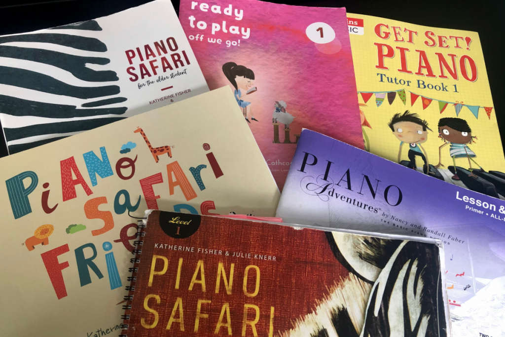 A selection of beginner piano methods including all levels of Piano Safari, Ready To Play, Get Set! Piano and Piano Adventures