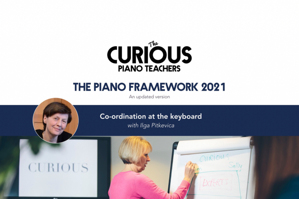 Co-ordination at the piano front cover image with Ilga Pitkevica photo and Curious logo